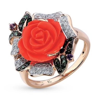 Фото «золотое кольцо с аметистом, кораллами синтетическими и бриллиантами»