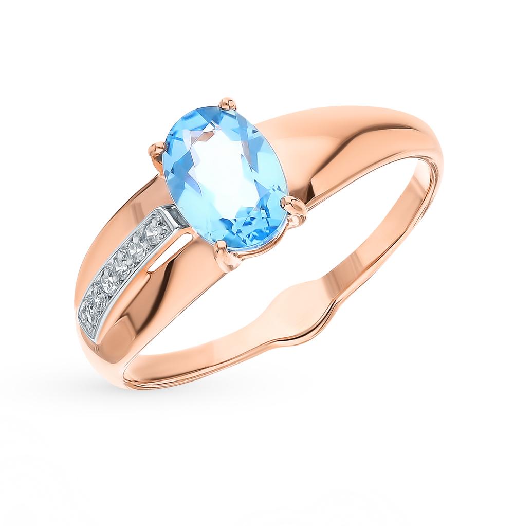 Фото «Золотое кольцо с топазами и фианитами SOKOLOV 715552»