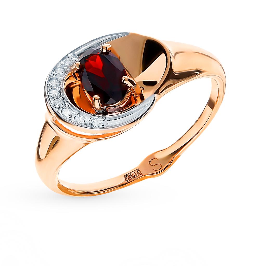 золотое кольцо с фианитами и гранатом SOKOLOV 715189*