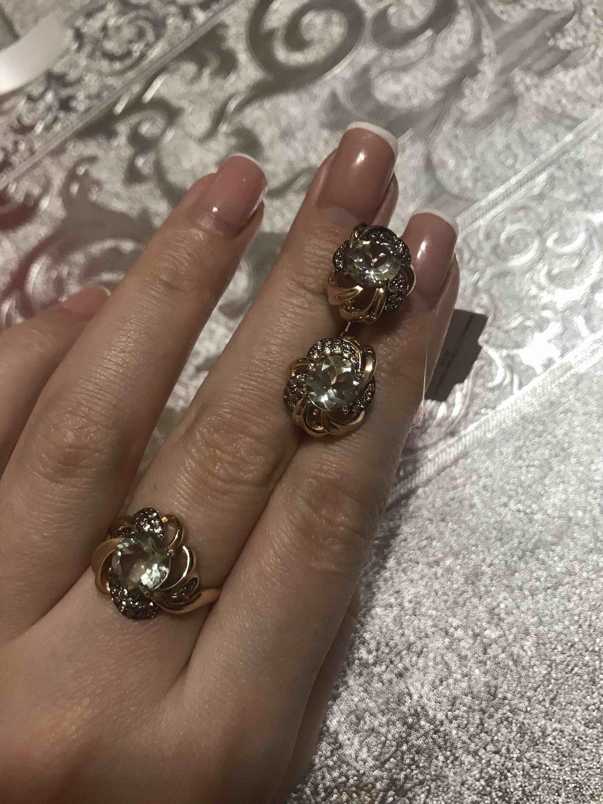 Набор золотое кольцо и серьги с фианитами и празоитом