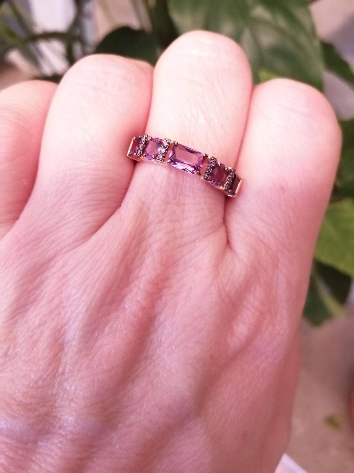 Кольцо с 5 аметистами