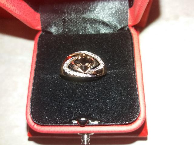 Кольцо с интересным кварцем раухтопазом