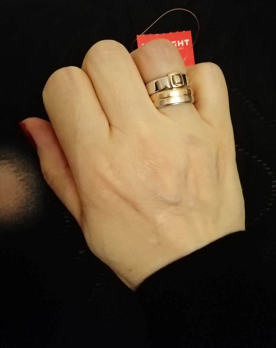 Кольцо серебро&золото