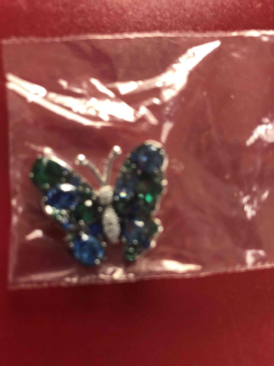Кулон в форме бабочки с фианитами и синтетической шпинелью