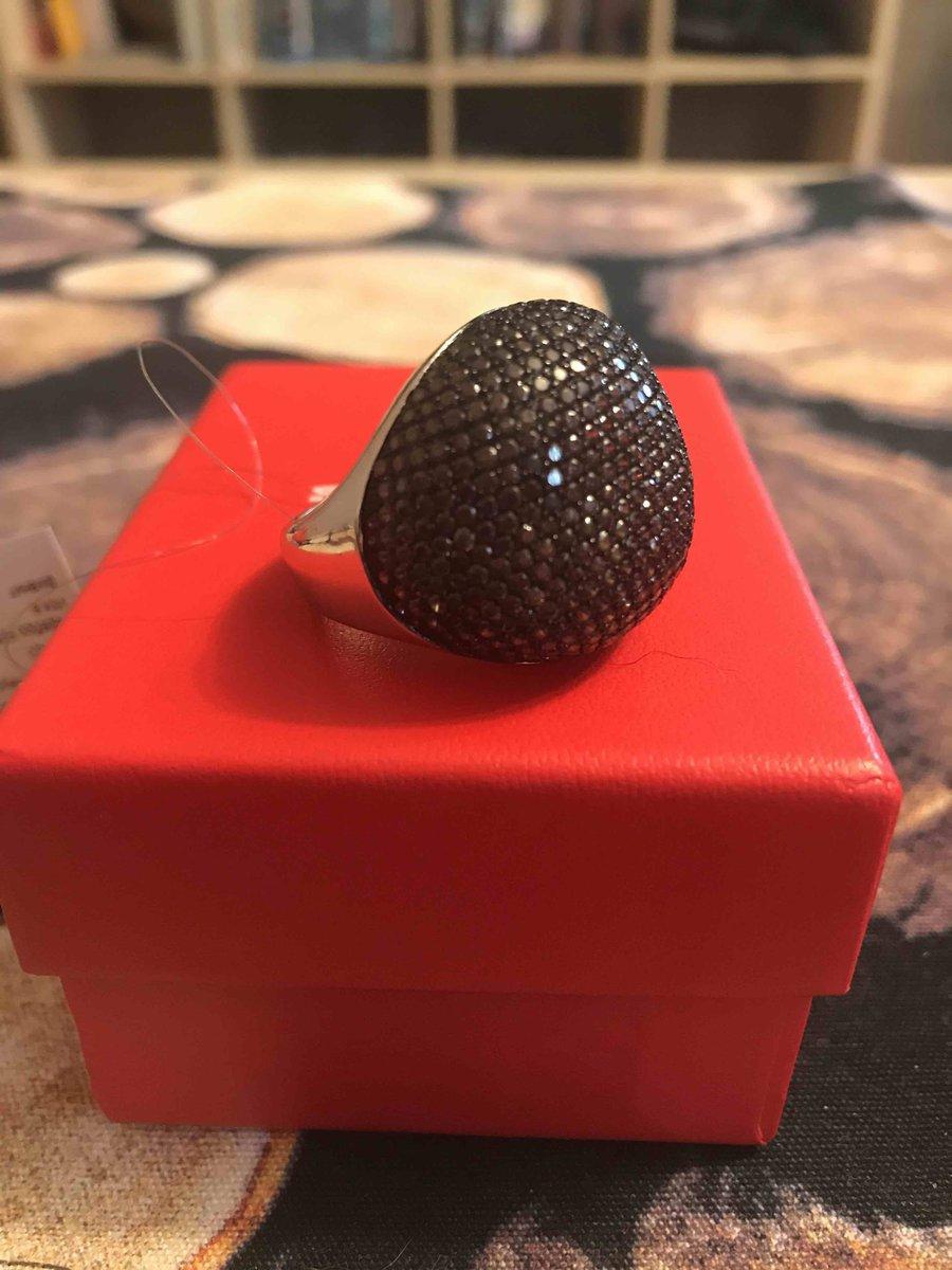 Кольцо и серьги  с коричневыми фианитами, серебро 925 пробы