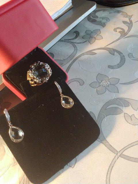 Серьги с аметистом и бриллиантами.
