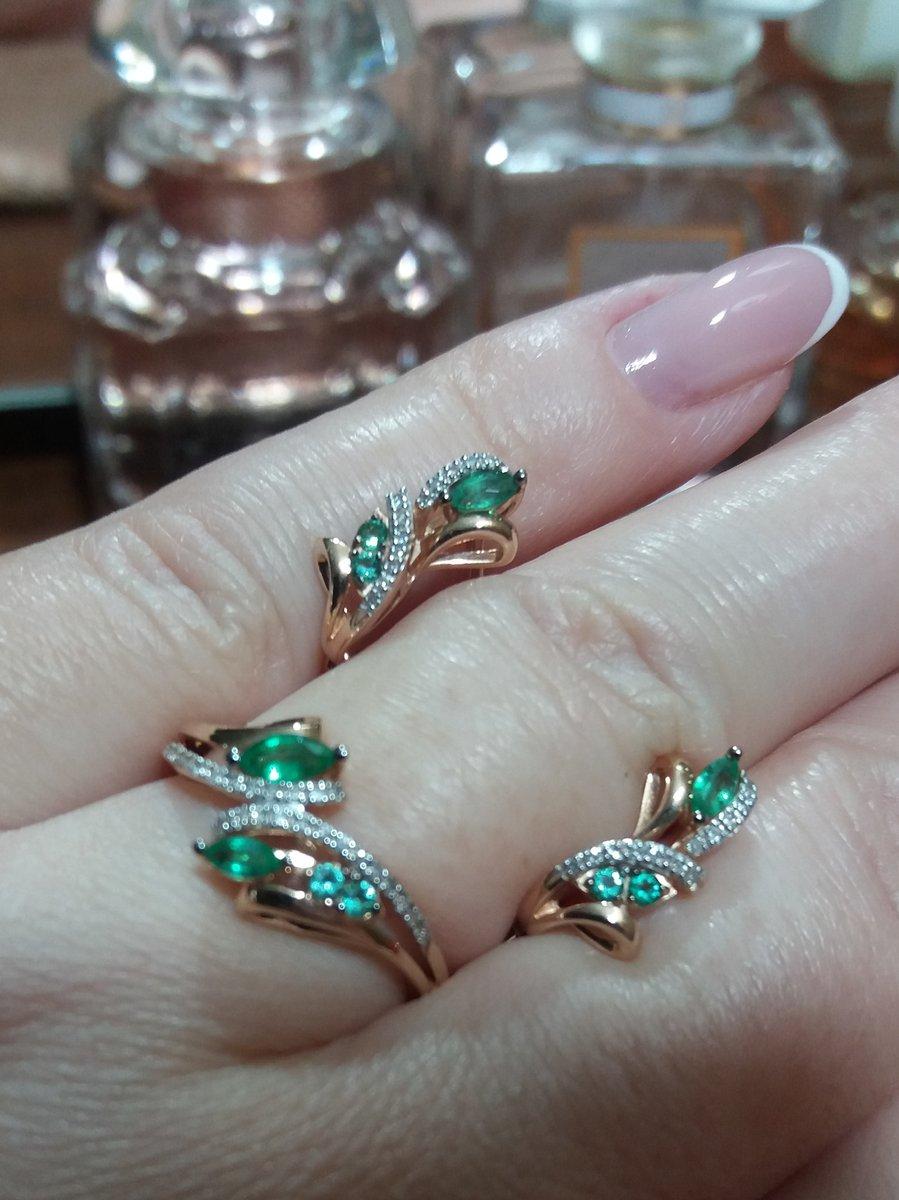 Комплет с изумрудами и бриллиантами