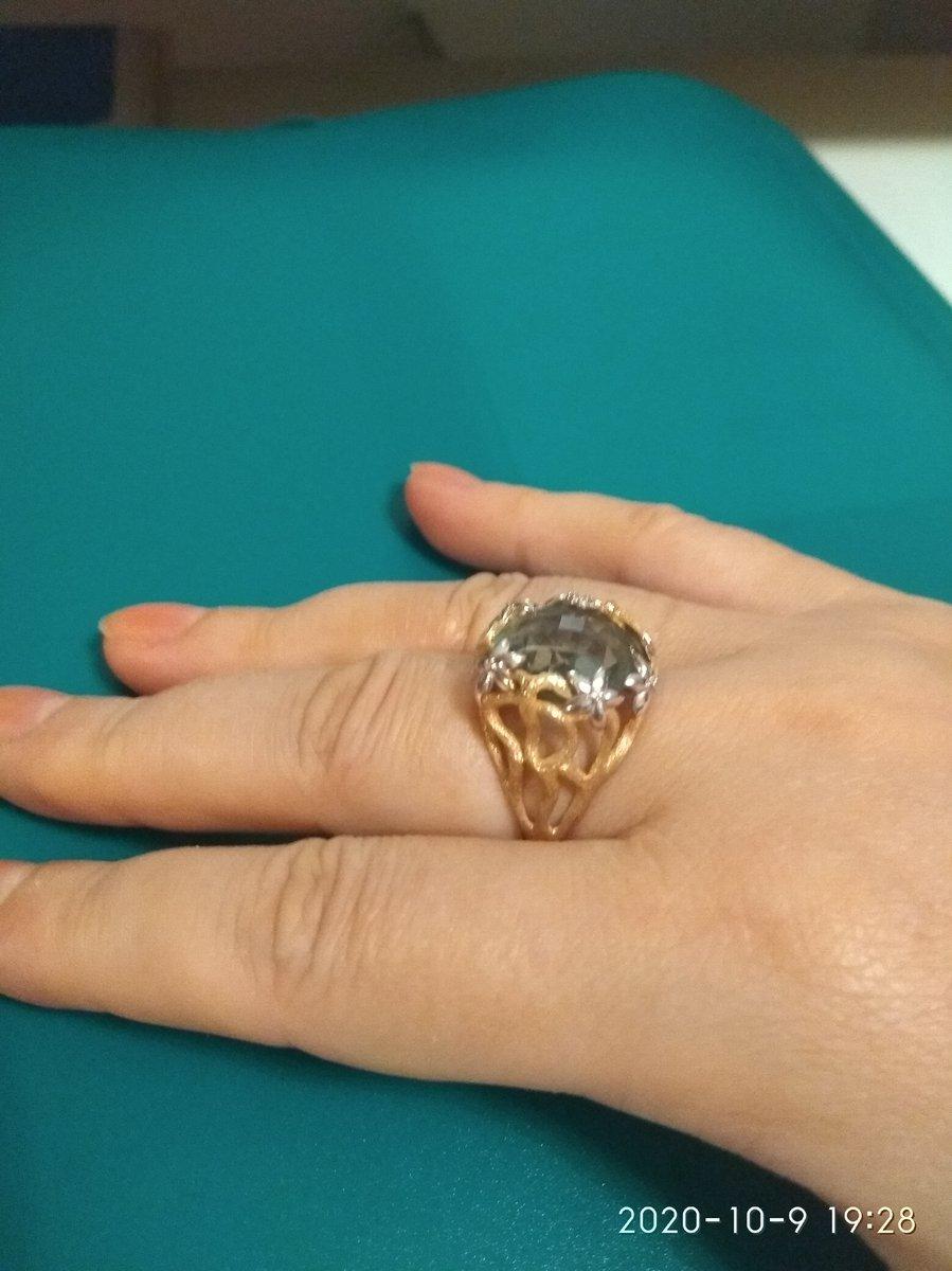 Роскошное кольцо с зелёным аметистом