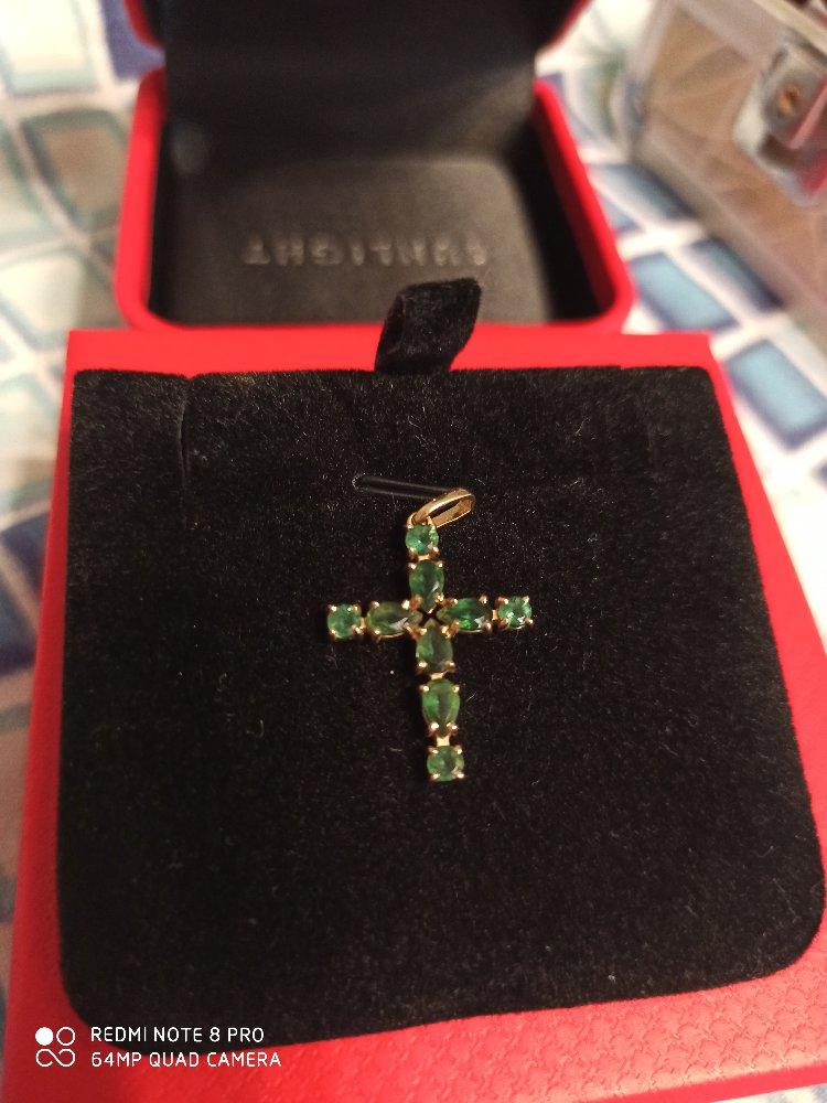 Крестик с турмалином