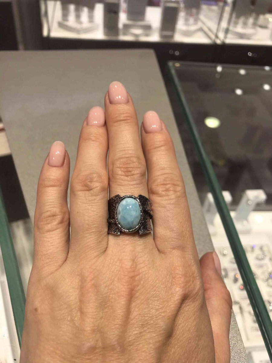 Серебрянное кольцо с ларимаром