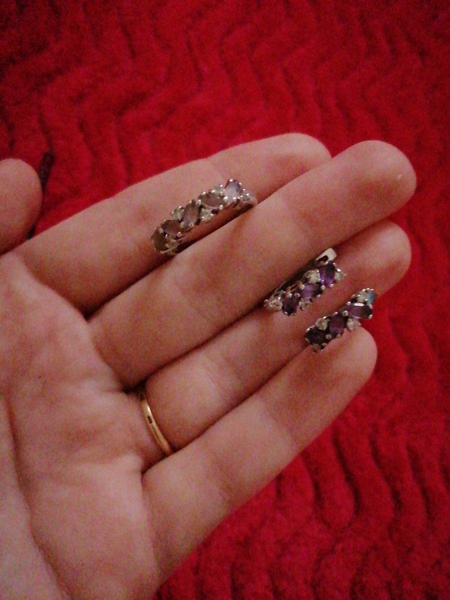 Купила набор серёжки и кольцо с камнем  аметист от компании соколов))))))))