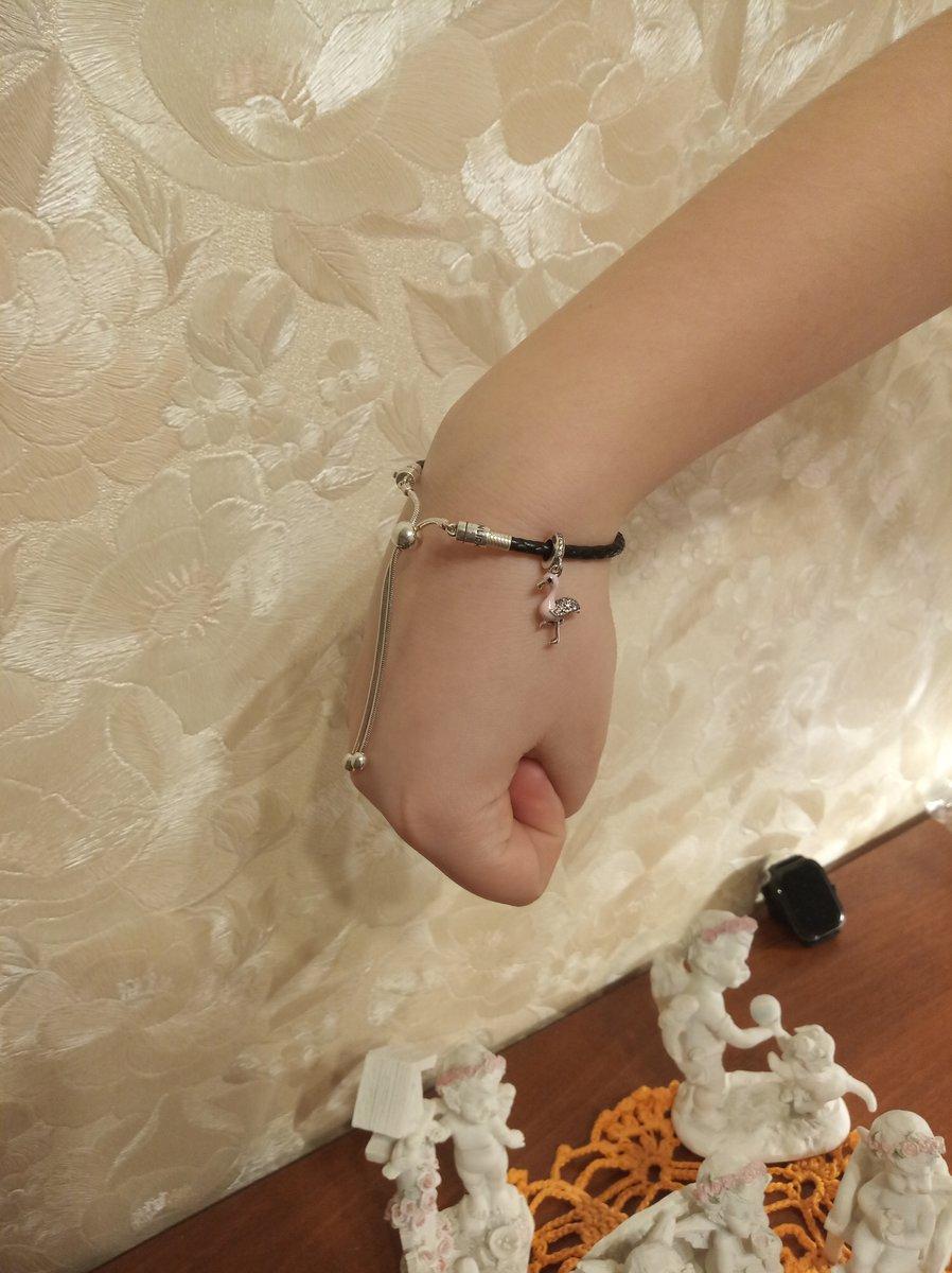 Серебряный браслет с кожей