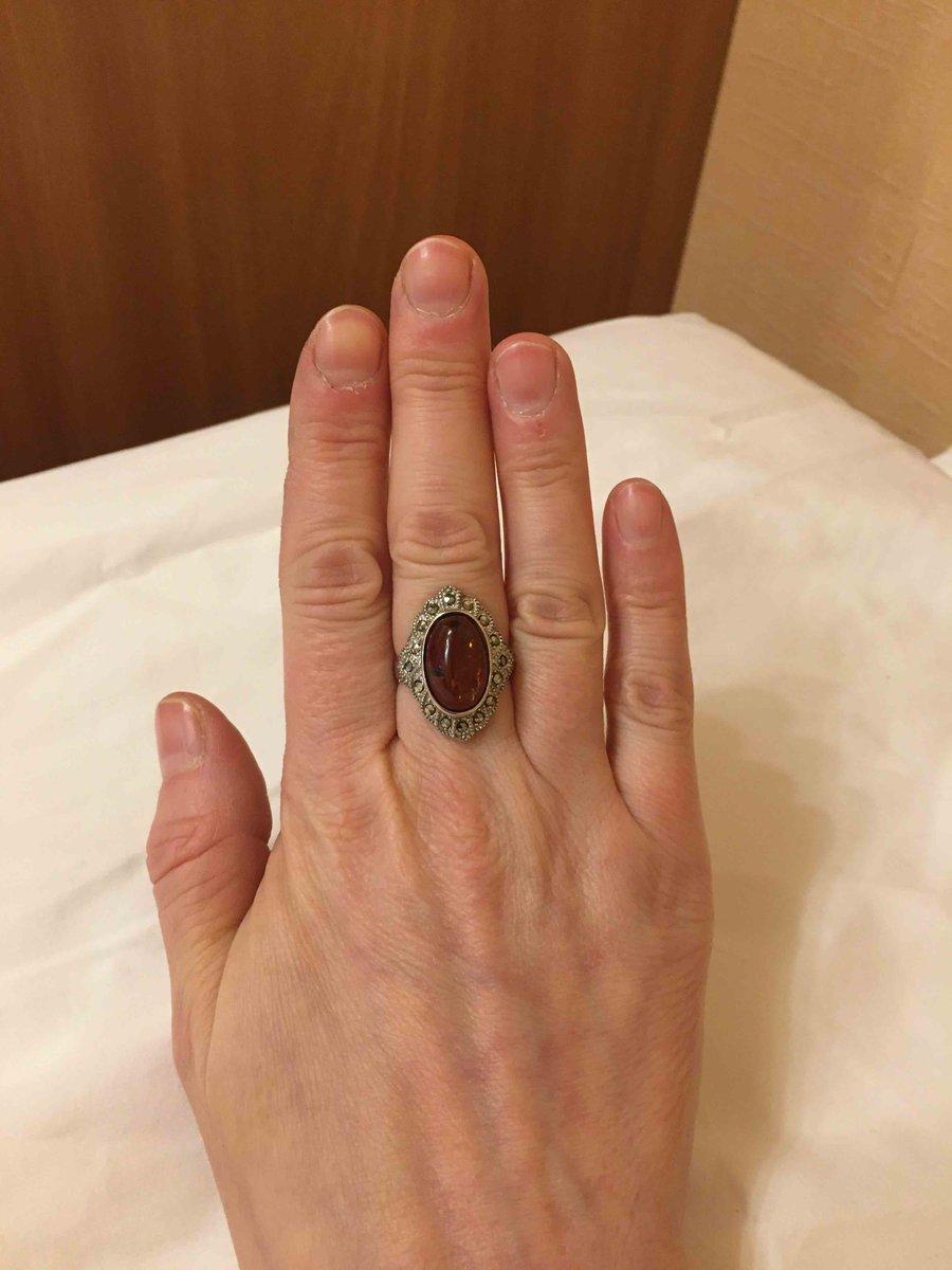 Кольцо с янтарем и марказитами