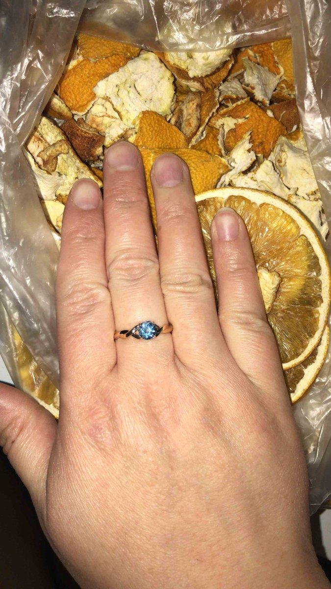 Шикарное кольцо с голубым топазом