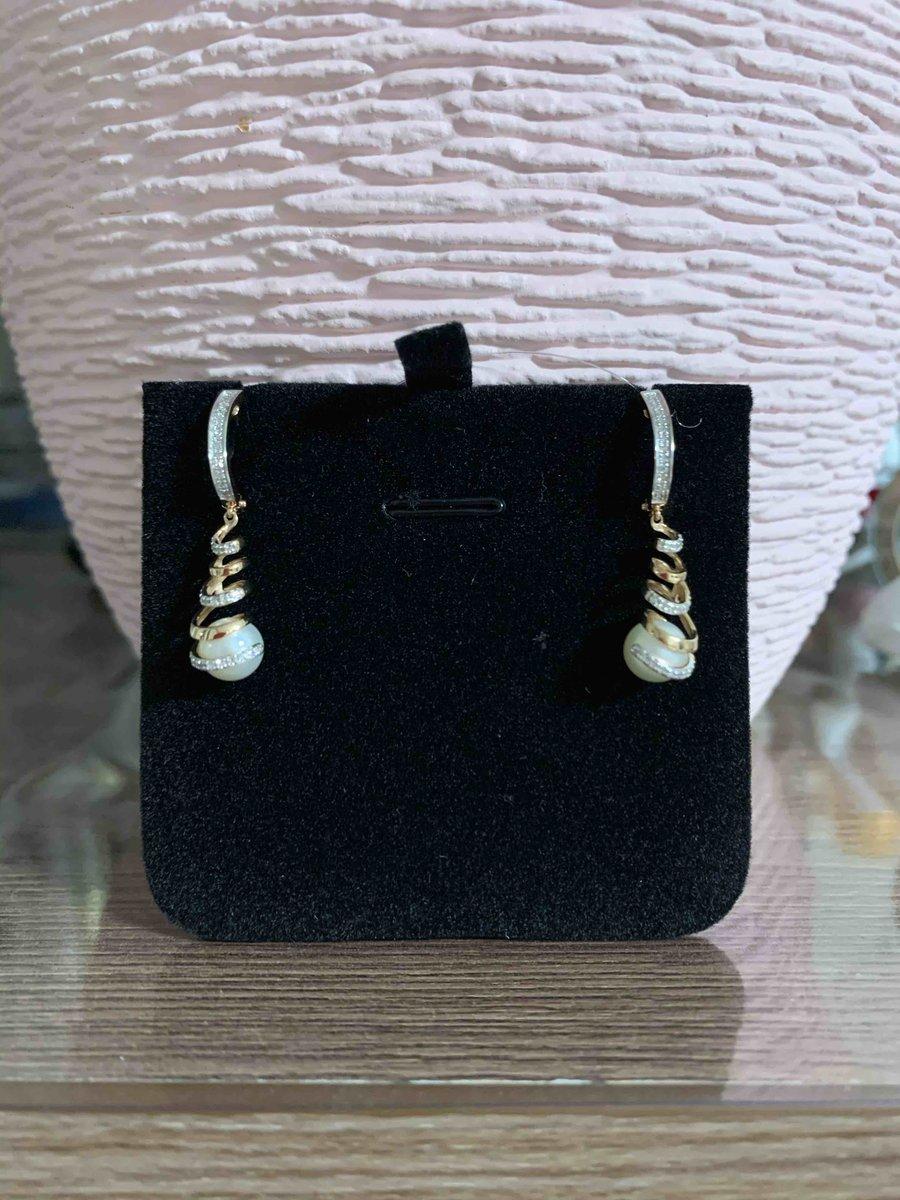 Серьги золотые с жемчугом и бриллиантами