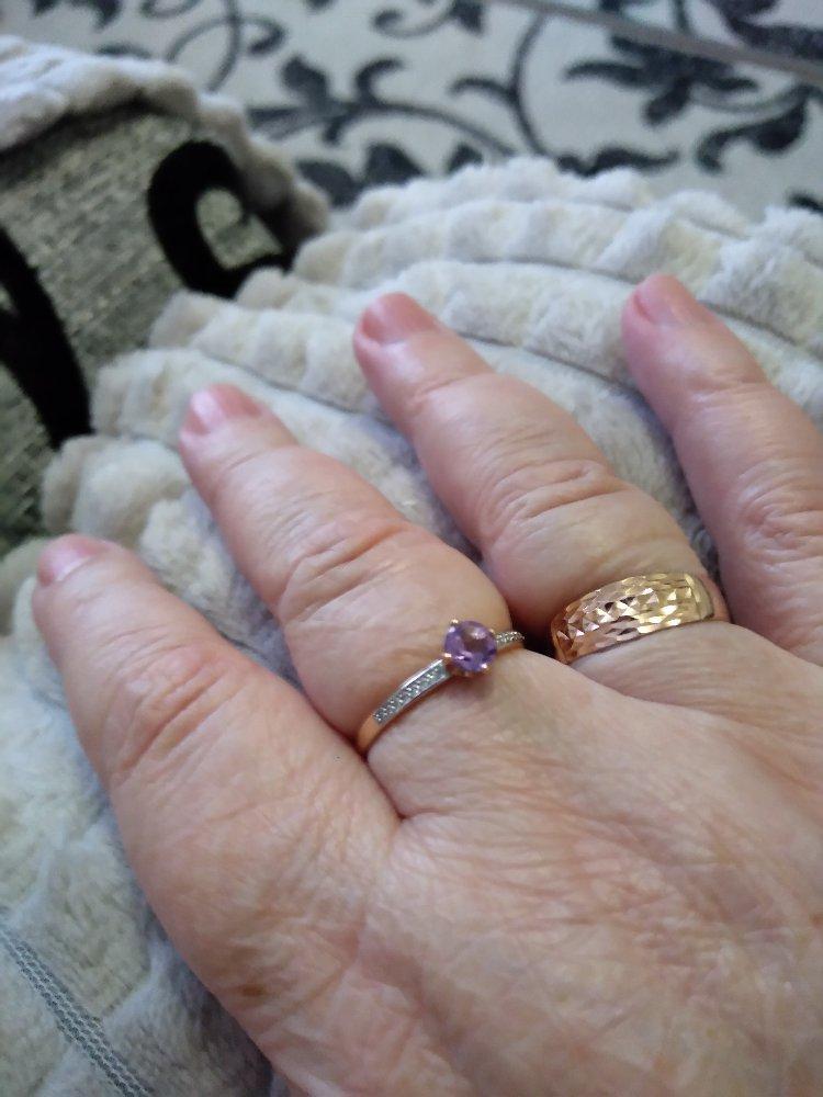 Золотое кольцо с аметистом и фианитами!