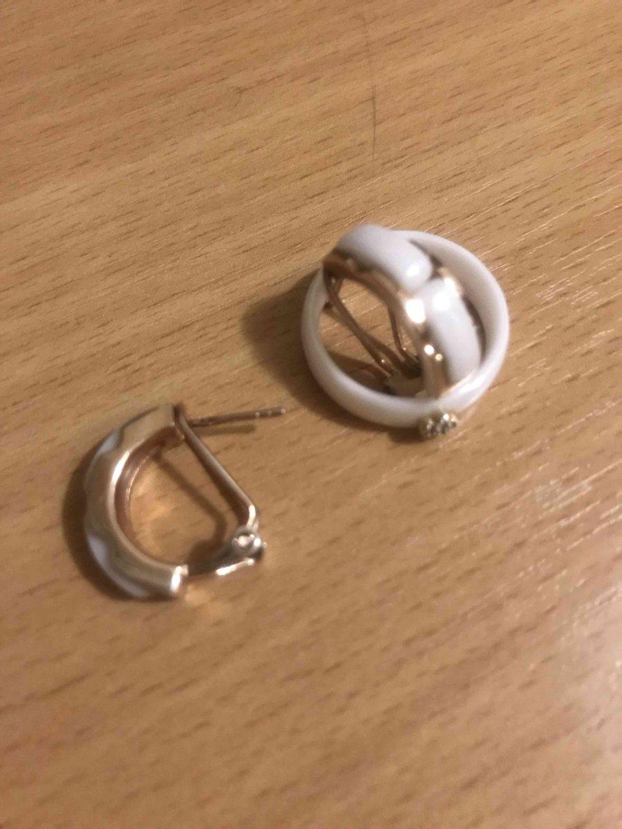 Серьги с белой керамикой