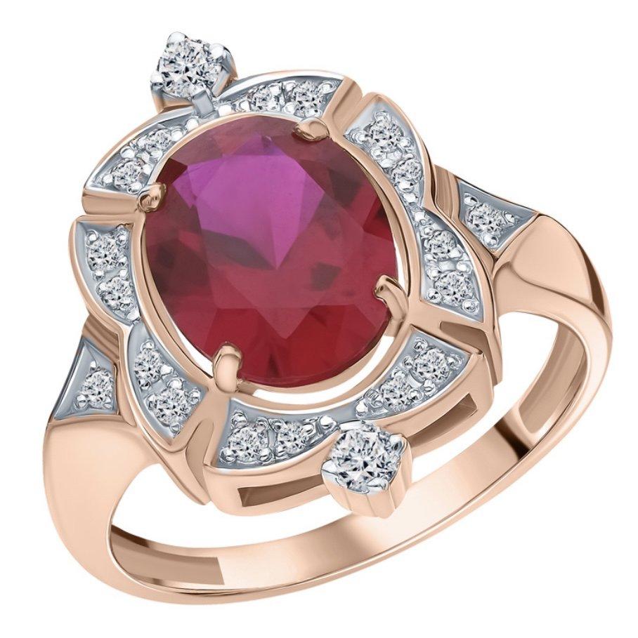 Золтое кольцо с рубином и бриллиантами