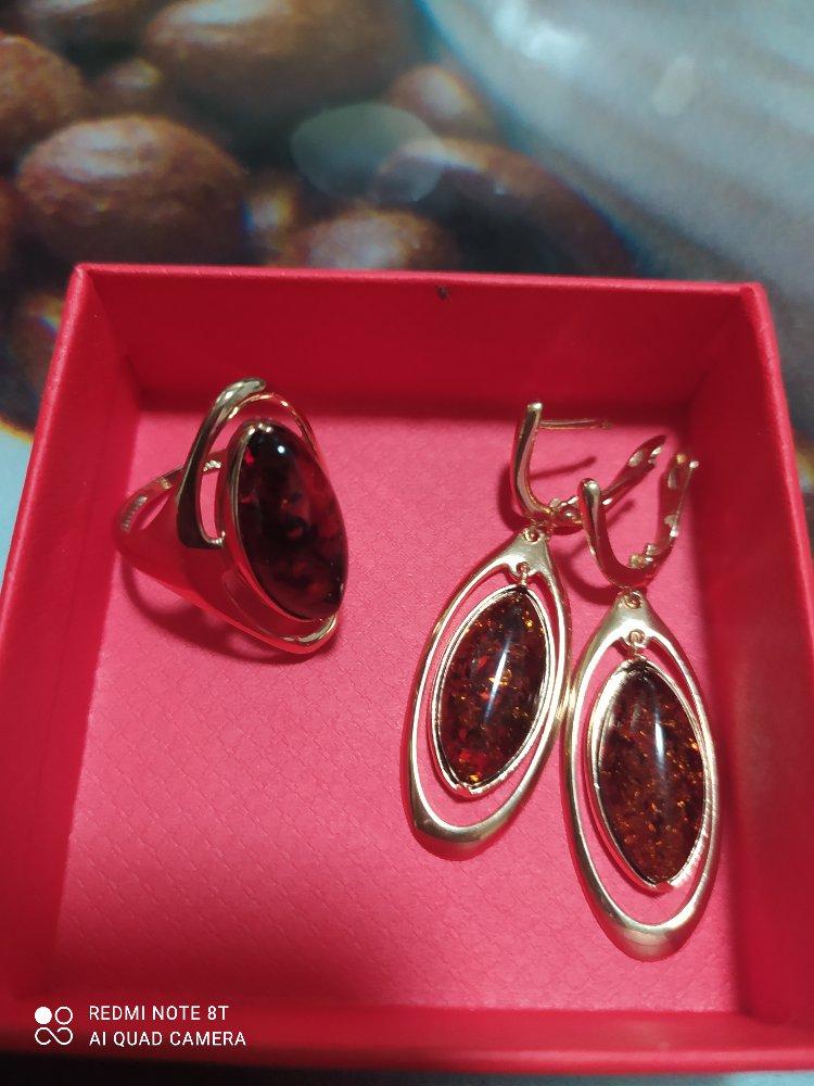 Серебро кольцо с янтарем