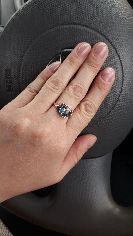 Кольцо с топазом + фианит