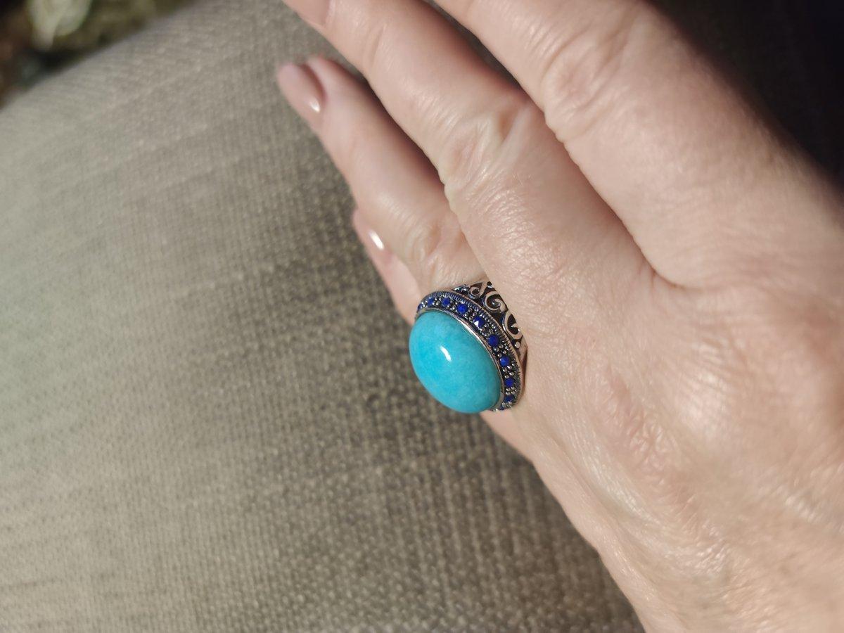 Кольцо с амазонитом и лазуритом