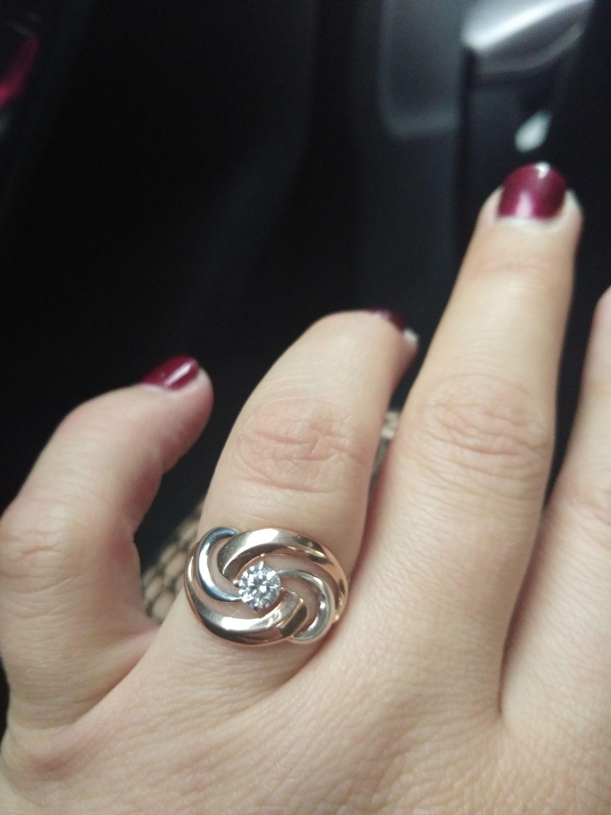 Серебряное кольцо с позолотой