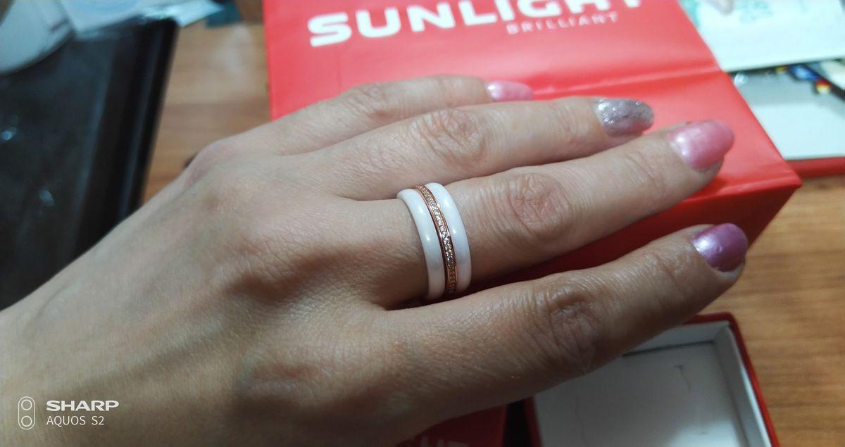 Серебряное кольцо с позолотой,керамика.