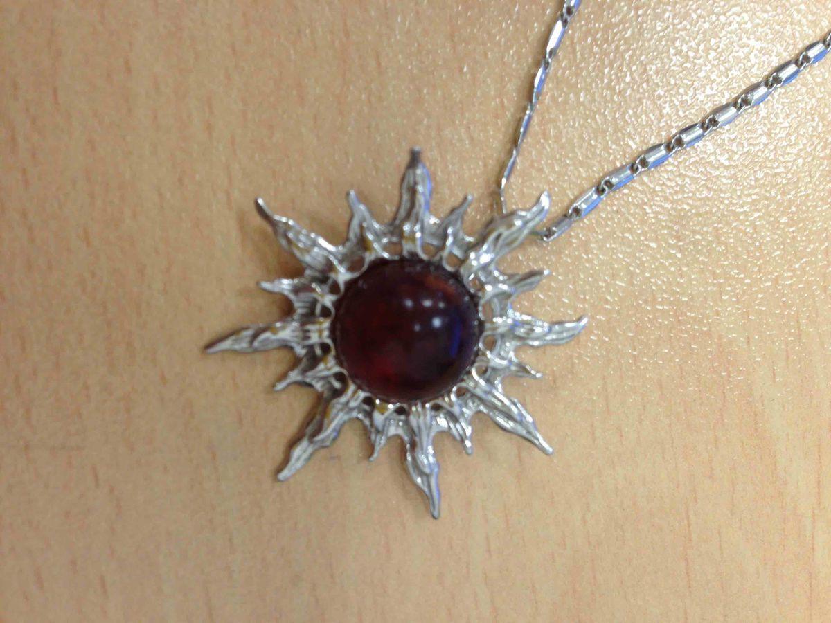 Серебряная подвеска Солнце с янтарем