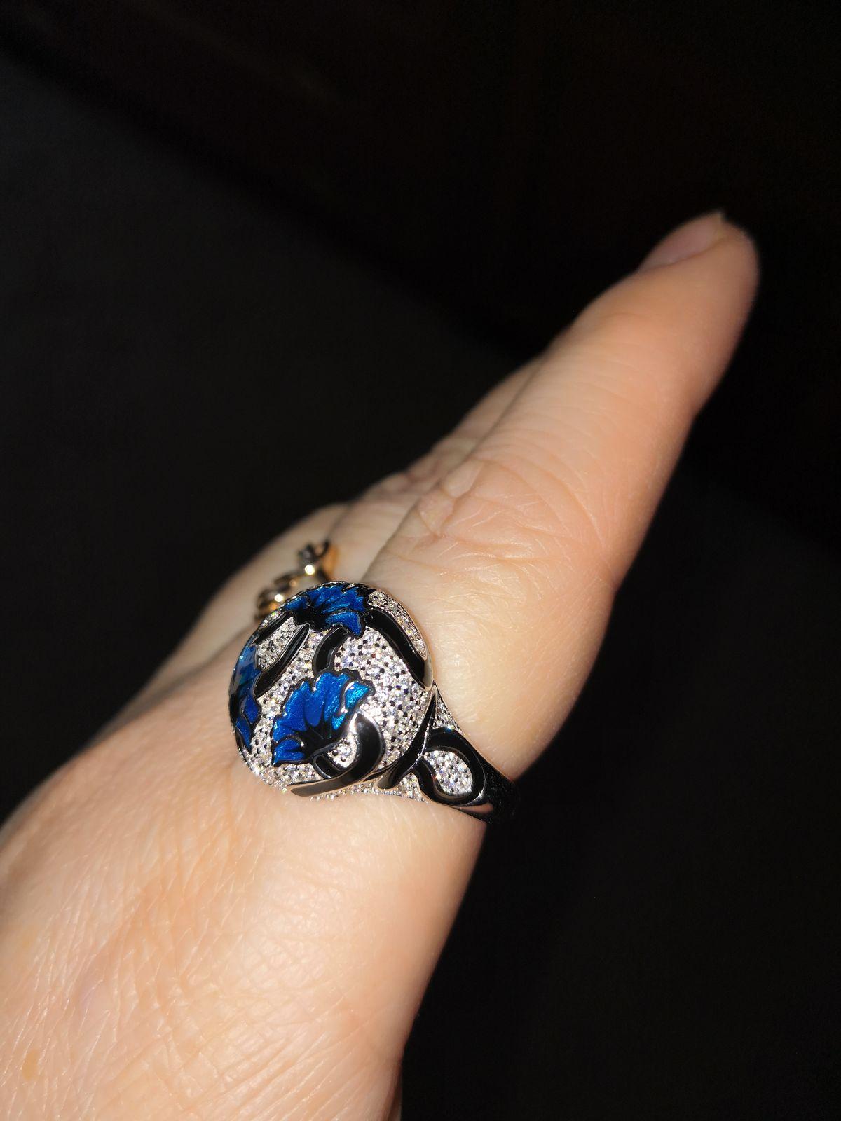 Кольцо синие маки