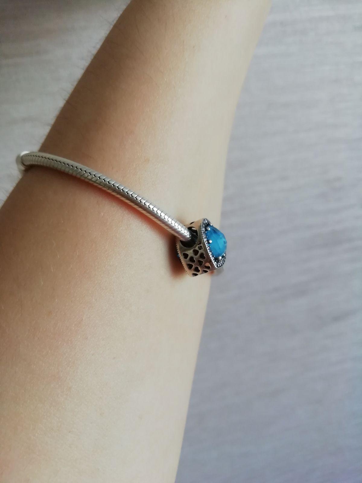 Серебряная подвеска для браслета с голубым алпанитом