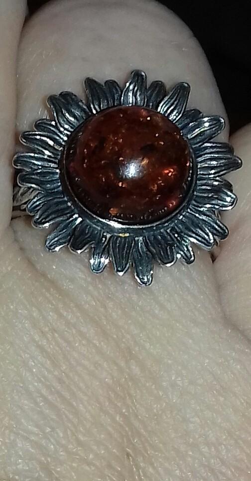 Кольцо серебро с янтарём