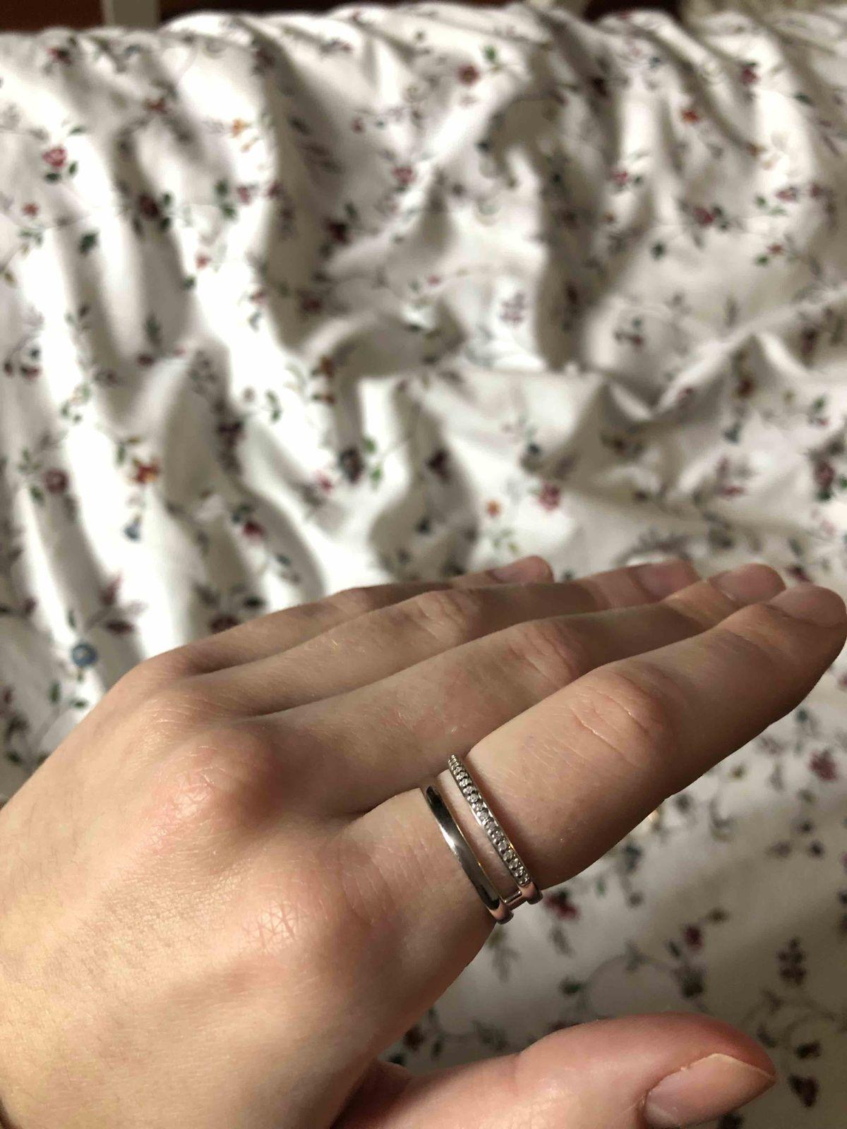 Серебряное двойное колечко